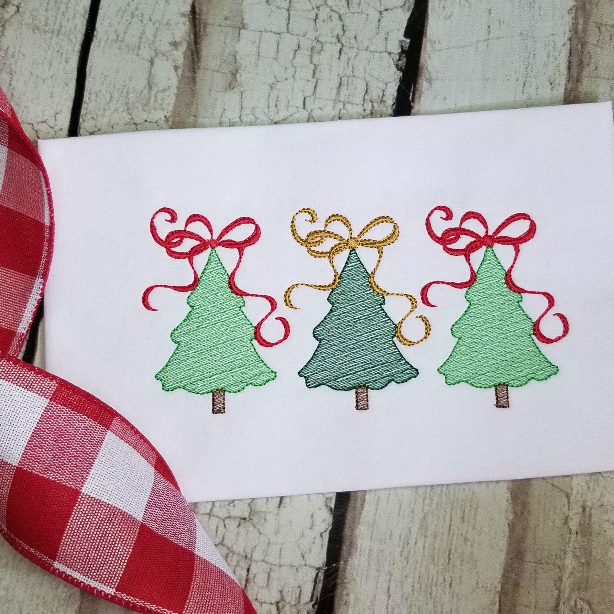 Christmas Tree Trio With Ribbon Machine Embroidery Design Etsy In 2020 Machine Embroidery Designs Embroidery Designs Christmas Embroidery Designs