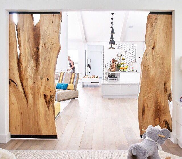 Rolling Log Slice Doorway Interior Barn Doors Rustic House Doors Interior