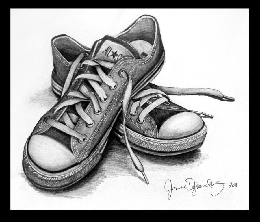girl with converse shoes drawings that look 3d drawings