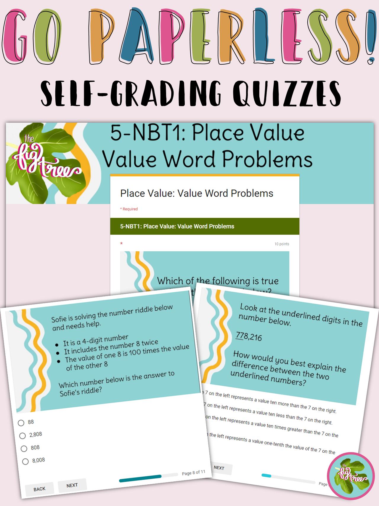 Place Value Word Problems Self Grading Quiz 5 Nbt1