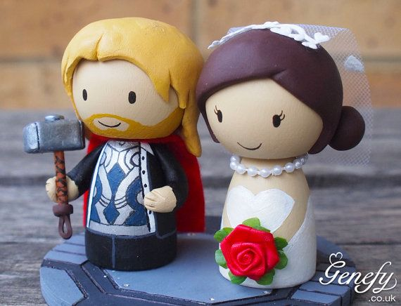 Cute THOR and Bride superhero wedding cake topper