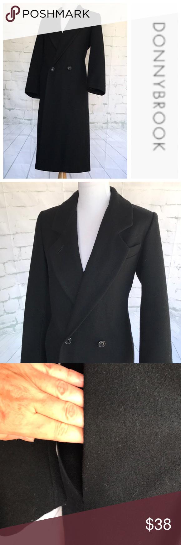 Donnybrook Vintage Black Long Wool Coat 6p Vintage Donnybrook Long Wool Coat Details Double Breasted Armpit To Ar Long Wool Coat Wool Coat Clothes Design