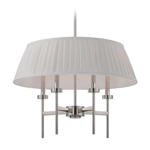 Nuvo Lighting Modern Drum Pendant Light with White Shades in Polished Nickel Finish | 60-5218 | Destination Lighting