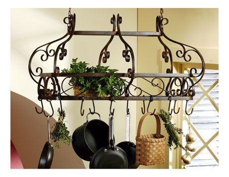 French Or Tuscan Scroll Wrought Iron Hanging Pot Rack New Ebay Idees Pour La Maison Cuisine Ancienne Cremaillere