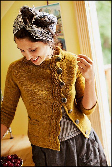 Chaqueta lana mujer dos agujas