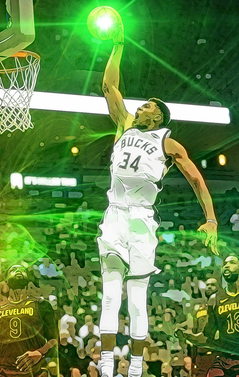 Giannis Antetokounmpo Dunk Nba Basketball Art Basketball Art Mvp Basketball