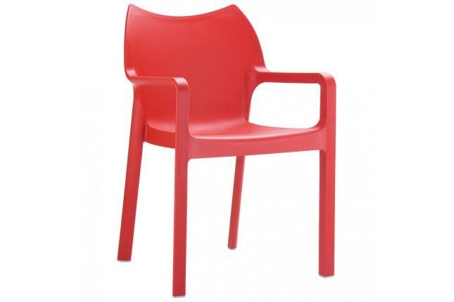 Chaise design de terrasse \'VIVA\' rouge en matière plastique ...