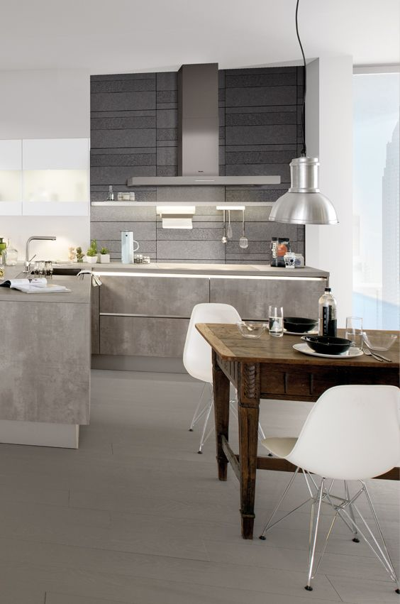 Kuche betonoptik holz for Kuchenarbeitsplatte starke