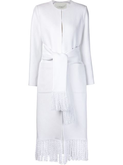 ADAM LIPPES Fringed Belted Coat. #adamlippes #cloth #coat
