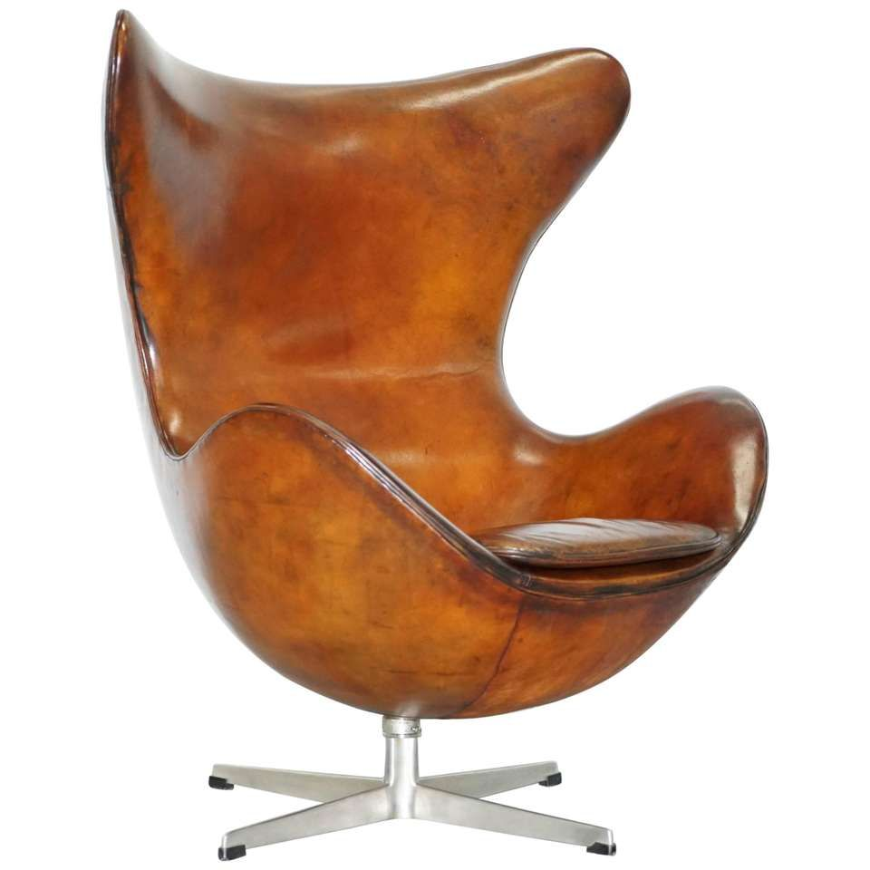 Original Stamped Fritz Hansen Egg Chair Arne Jacobsen Vintage Brown Leather