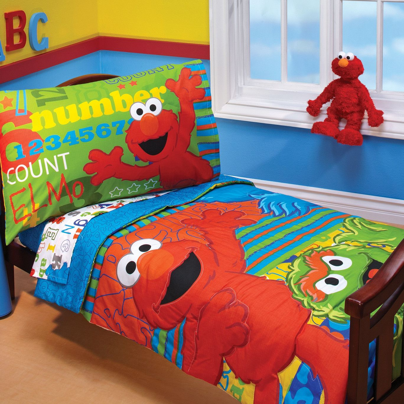Sesame Street Abc 123 4 Piece Toddler Bedding Set  Toddler Room Glamorous Toddler Bedroom Set Decorating Inspiration