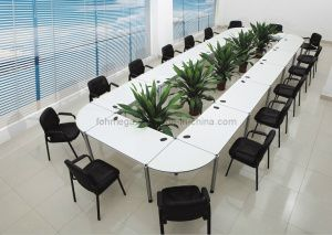 Melamine Modern Detachable Modular Conference Table In White FOHFN - Detachable conference table
