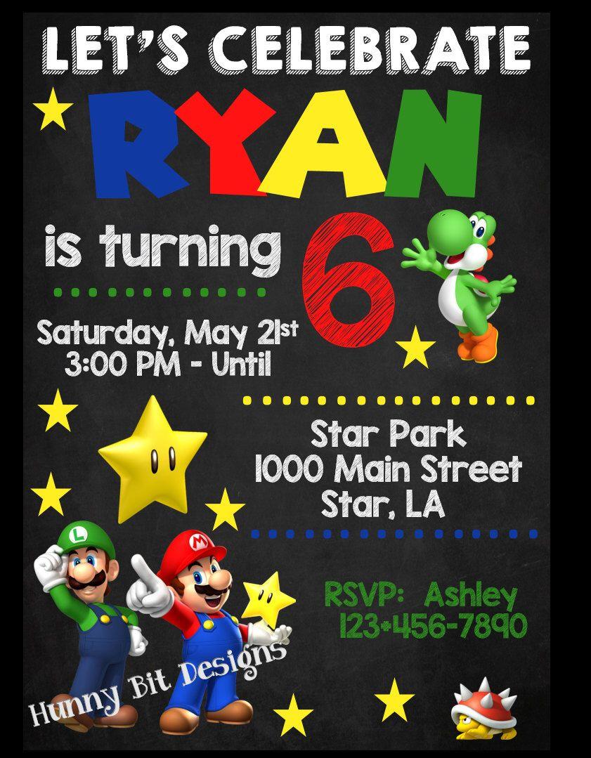 Super Mario Brothers Birthday Invitation, Luigi Yoshi Spiny Star ...