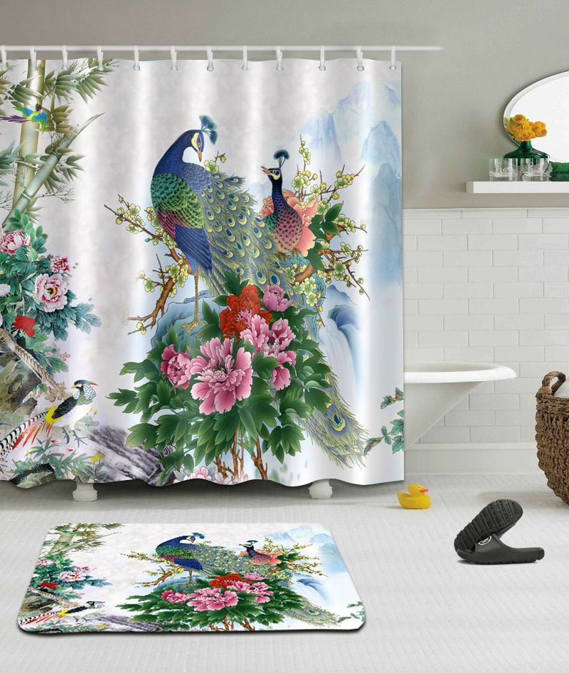 The Flowers And Birds Waterproof Fabric Home Decor Shower Curtain Bathroom Mat