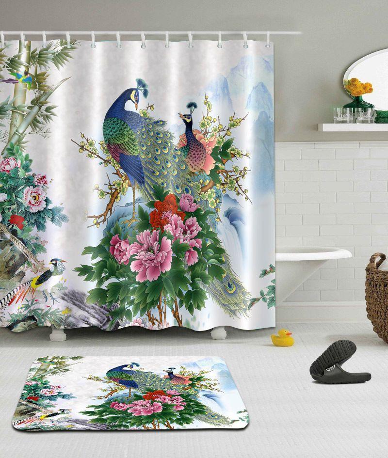 Waterproof Bathroom Decor Shower Curtain Polyester Bath Mat Rug