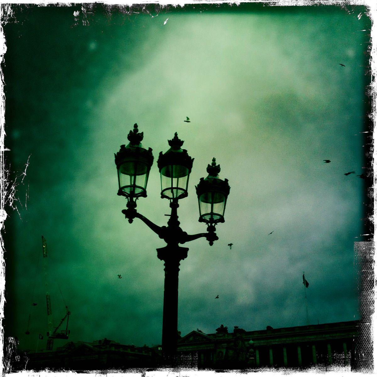 street lamp, paris, dark sky