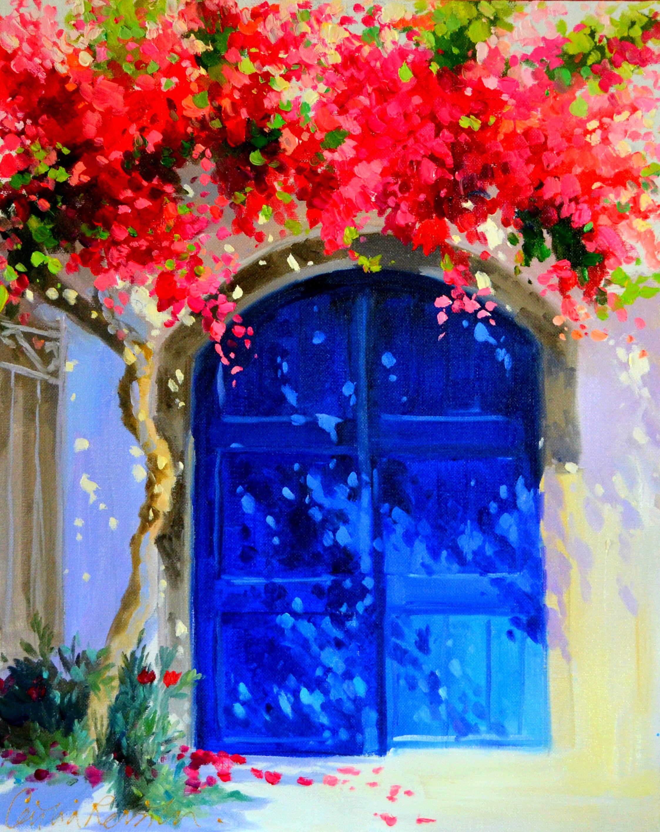 Greek Painting Of Santorini Blue Door Bright Modern