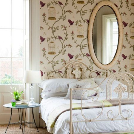 2 Bedrooms With Song Bird Print Wallpaper