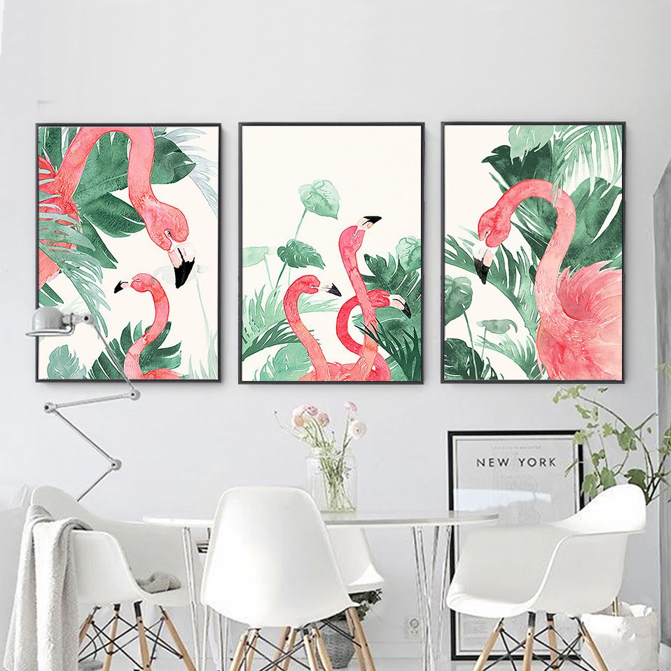 Watercolor Soft Green Leaves Flamingo Canvas Print Wall Art Poster Airbnb Home Decor Cafe Office Disney Room Decor Tropical Wall Art Home Decor Paintings