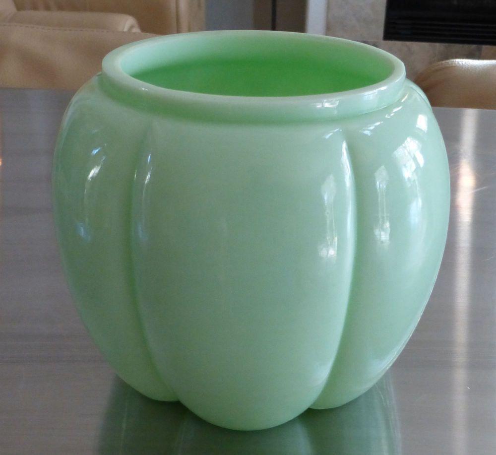 Martha Stewart By Mail Fenton Jadeite Green Melon Form Flower Vase ...