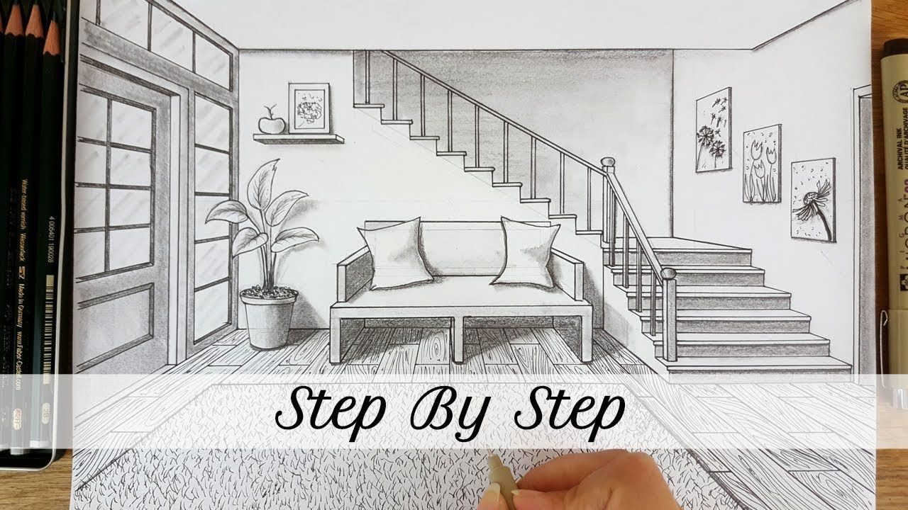 How To Draw An Entryway In One Point Perspective Step By Step In 2020 Perspective Room One Point Perspective Point Perspective