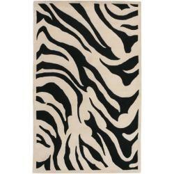 Hand Tufted Black Beige Zebra Animal Print Glamorous Wool