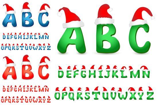 c1c841585c482 Cute Christmas Hat alphabet vector material