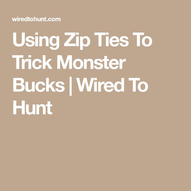 Using Zip Ties To Trick Monster Bucks | Wired To Hunt | Deer hunting ...