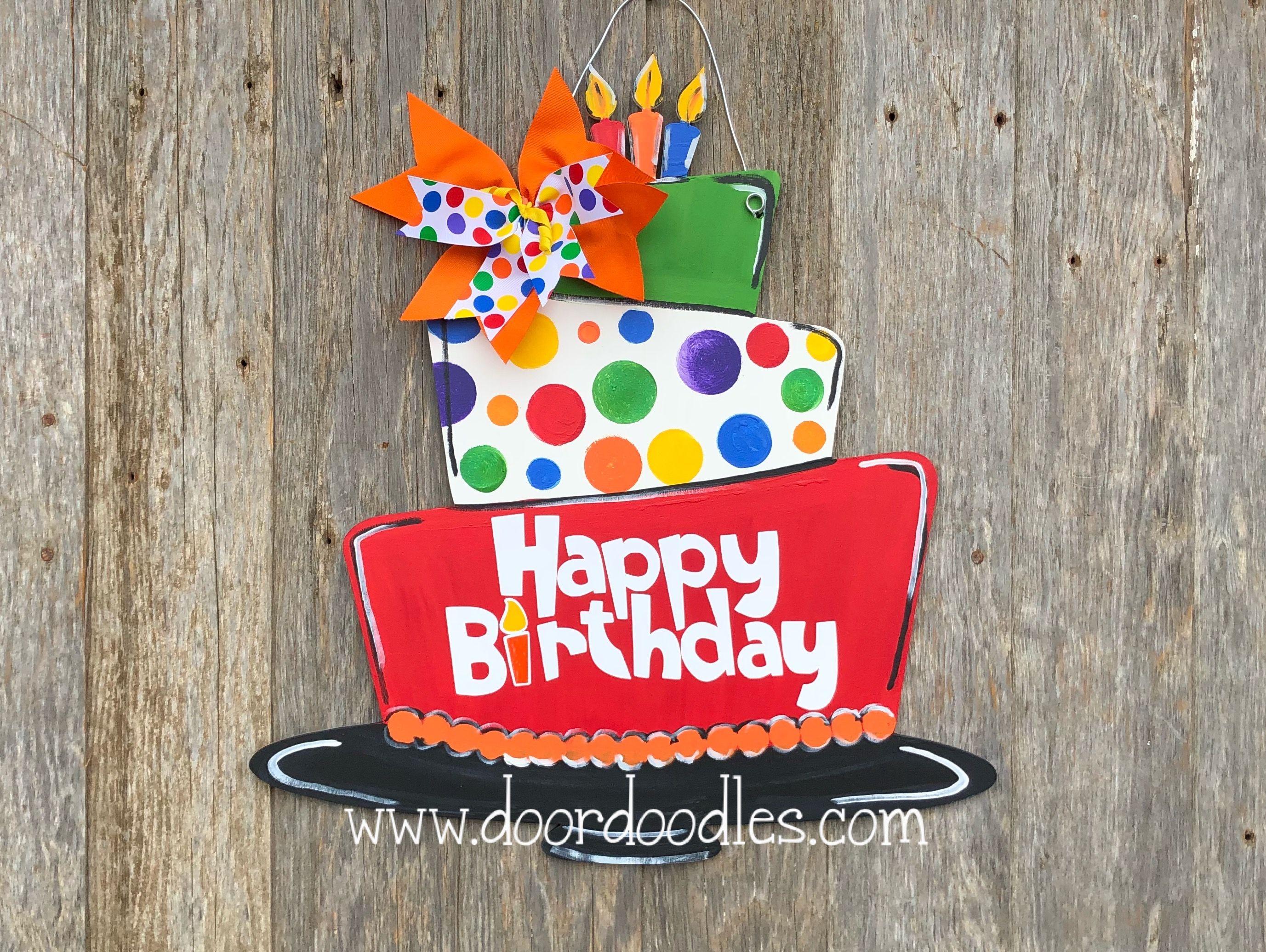 Pleasant Happy Birthday Door Sign Birthday Cake Door Hanger Birthday Door Funny Birthday Cards Online Alyptdamsfinfo