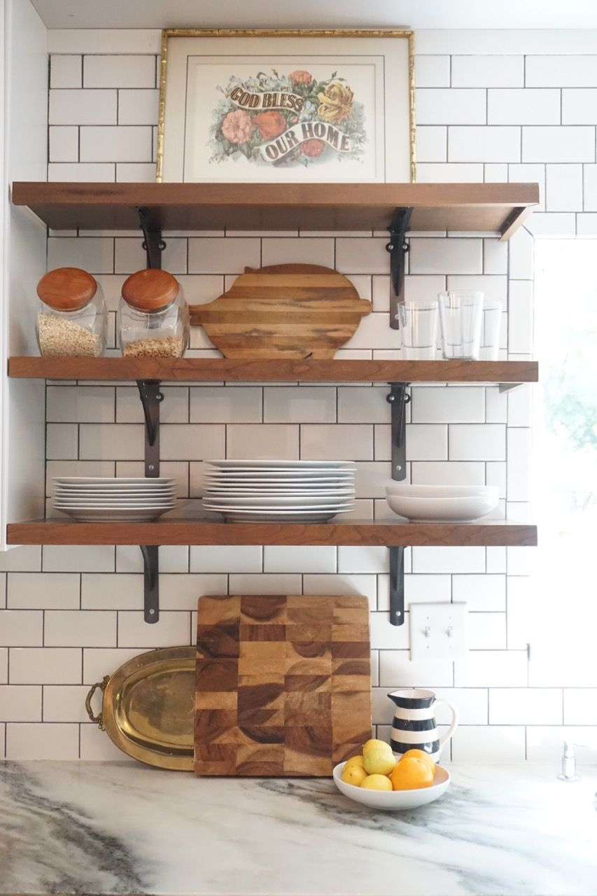 Vintage kitchen remodel White shaker cabinets marble