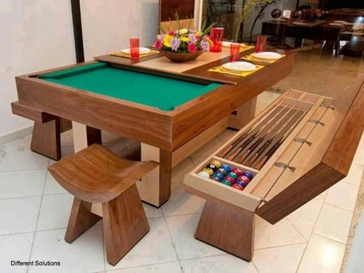 Regular Table Convert In Pool Table What A Creative Idea Pool Table Dining Table Home Dining Room Table