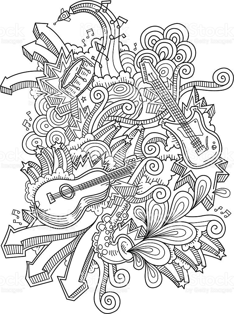 music doodles, neat and detailed, strokes intact