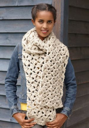 Crochet Lacy Scarf - Lion Brand® Wool-Ease® Thick & Quick® Pattern ...