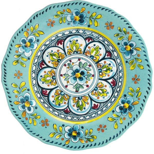 Le Cadeaux Madrid Turquoise Melamine Dinner Plate ($20) ❤ liked on Polyvore featuring home  sc 1 st  Pinterest & Le Cadeaux Madrid Turquoise Melamine Dinner Plate ($20) ❤ liked on ...
