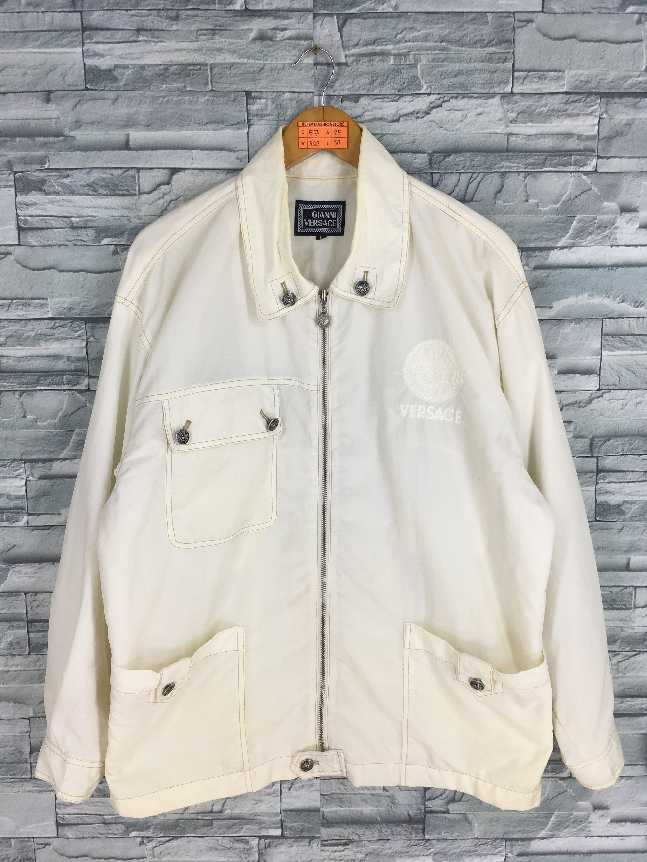 937242974bc8d GIANNI VERSACE Windbreaker Jacket Large Men Women Versace Jeans Couture  Medusa White Made In Italy Versace Light Zipper Jacket Size L by  REPEATFASHIONSTORE ...
