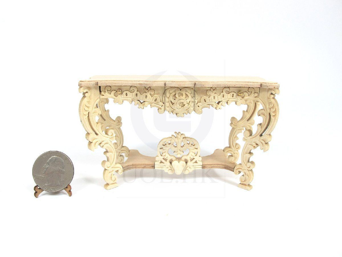 unfinished dollhouse furniture. Miniature 1:12 Scale Louis XV Console Table For Dollhouse [Unfinished] Unfinished Furniture S