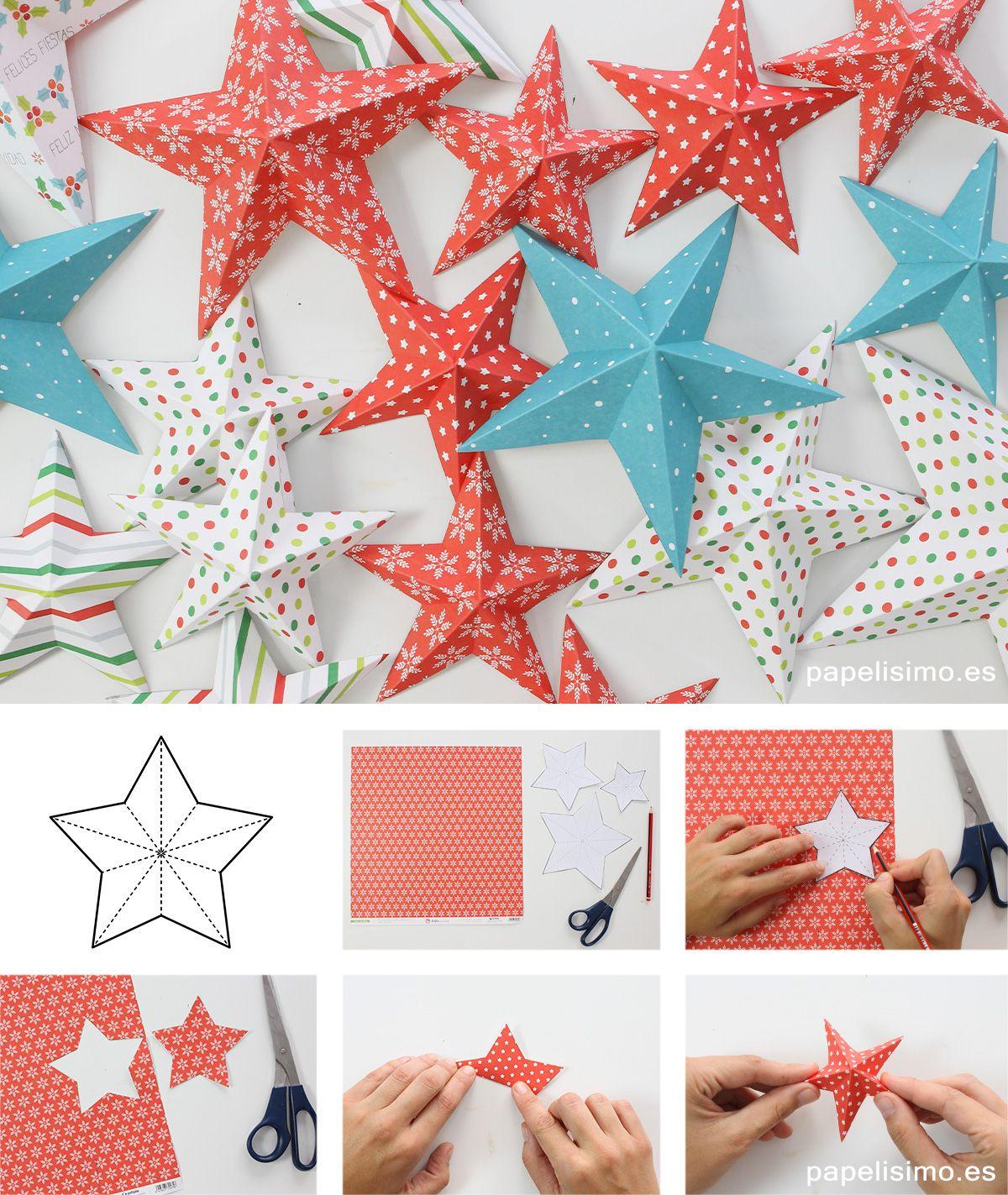 Estrellas papel scrapbooking paso a paso diy paper for Decoracion de navidad manualidades