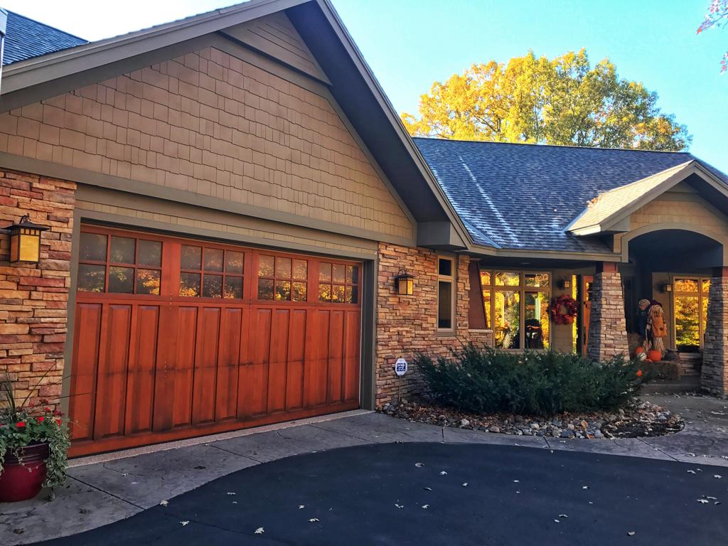 Hand crafted Wayne Dalton, mahogany, garage doors.