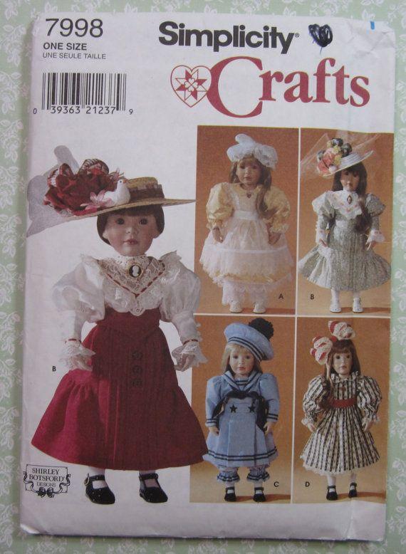 18-Zoll-Puppe Kleidung UNCUT Einfachheit Muster 7998 Kleid, Slip ...