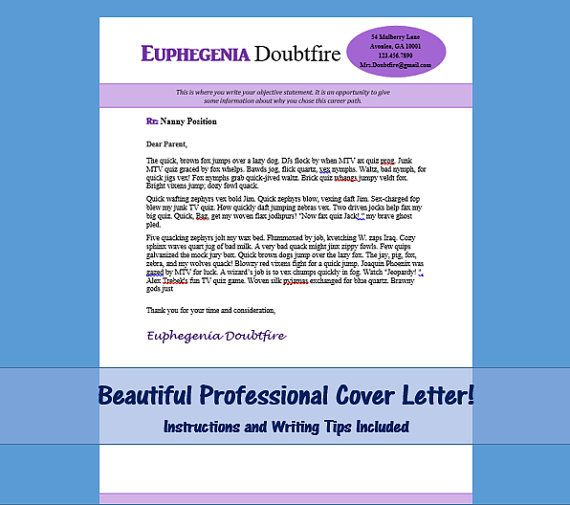 Nanny Cover Letter Template Mrs Doubtfire by NannyLikeAPro Your - cover letter template docesthetician cover letter
