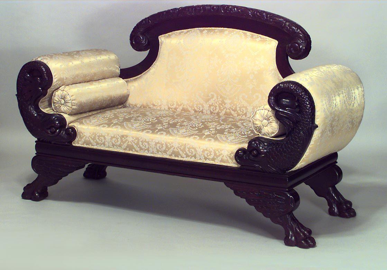 Mobili Vittoriani ~ American victorian seating loveseat settee mahogany empire