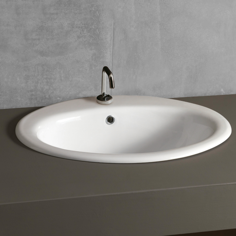 Lavabo da incasso soprapiano 51,5 x 45,5 cm in ceramica