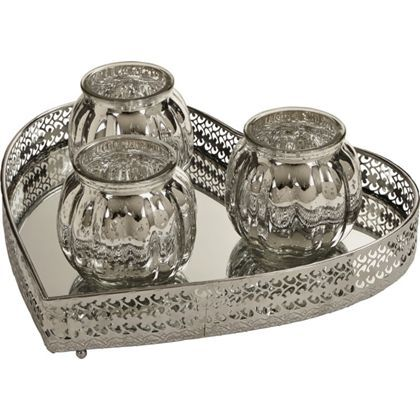Provence Double Tealight Holders in Grey Love or Home
