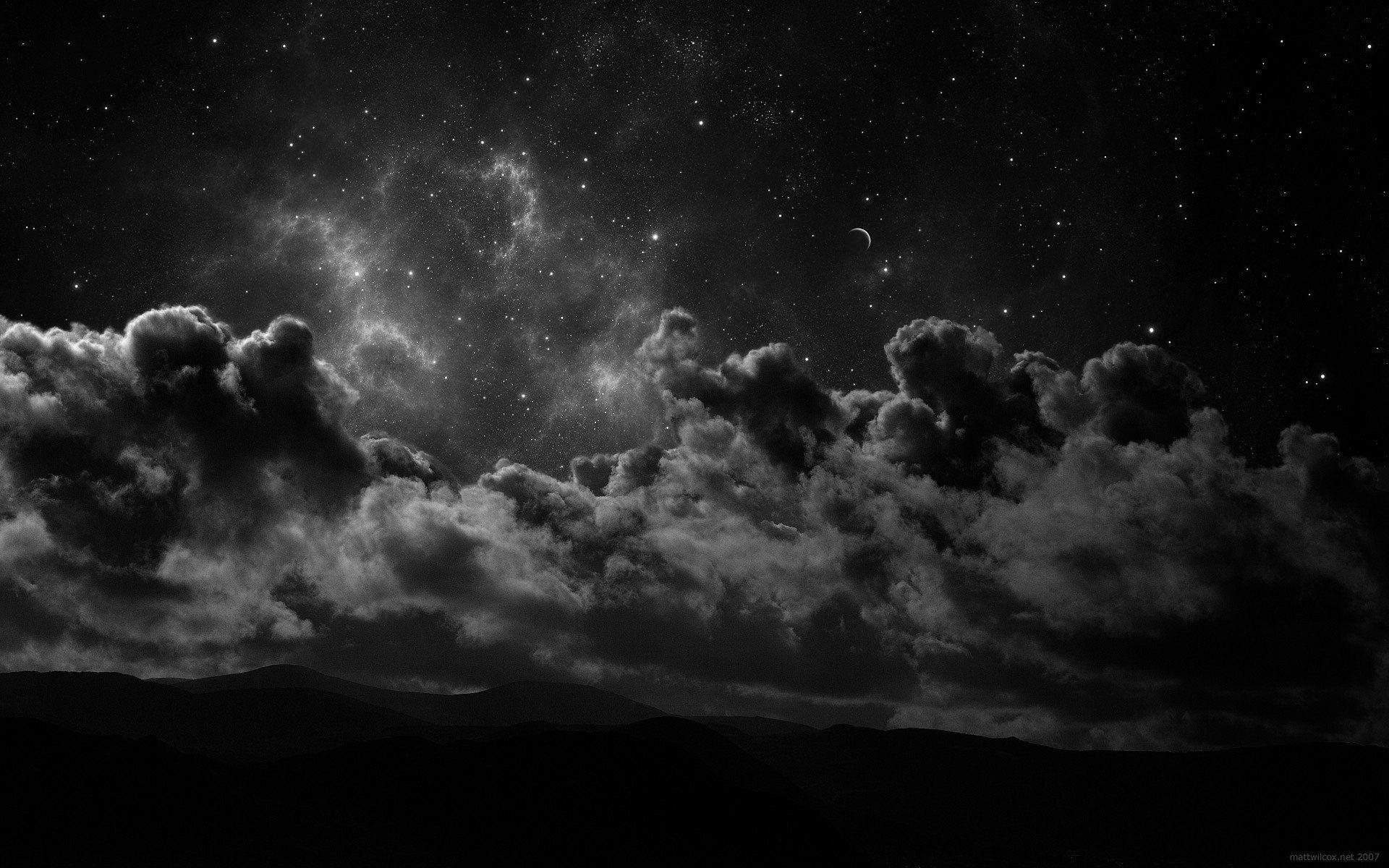 774703cloudsgrayscalenightstars.jpg (1920×1200) Full