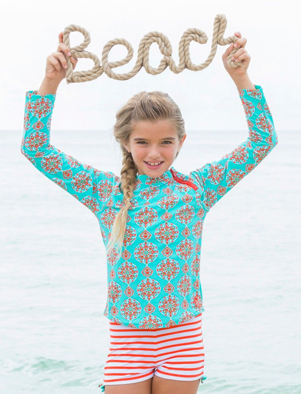 f718c7e5b0 Cabana Life Girls Turquoise Printed Rashguard with Triangle Bikini Top and  Striped Boy Style Swim Bottoms - 50+ UV Protection