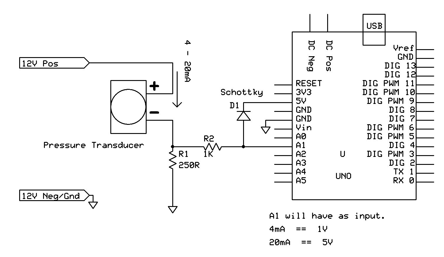 Reading 4 20ma Current On Arduino Arduino Arduino Projects Transducer
