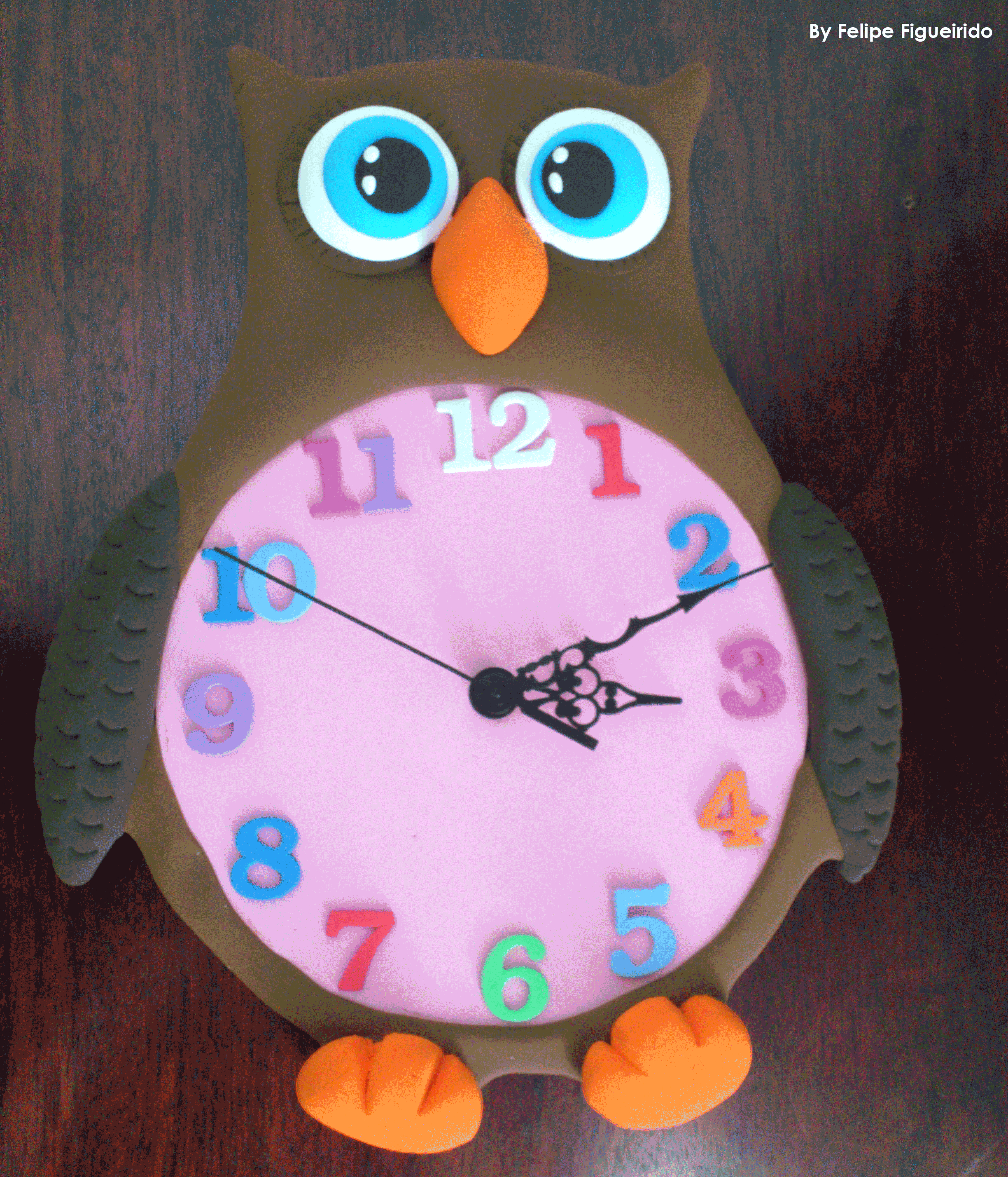 Owl clock nursery decor materiales goma eva jumping - Manualidades con carton pluma ...
