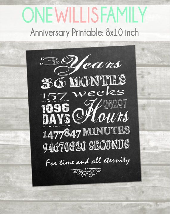3 Year Anniversary Printable Minutes Hours Seconds Days Years
