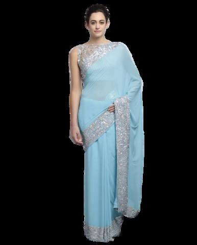 0466ec2605 Light blue color designer saree with silver ssequin work | Designer ...