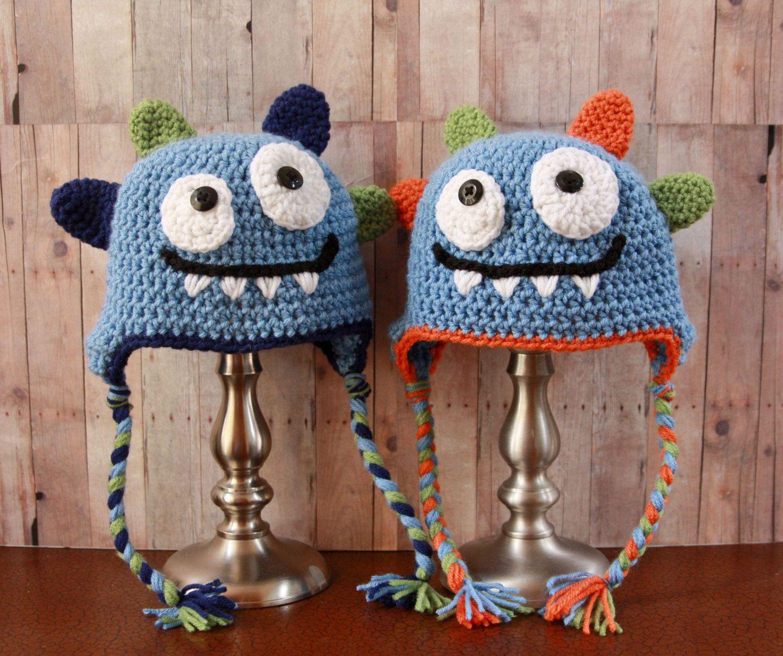 Happy Monster Hat Baby Boy Hat Crochet Boys Hat By